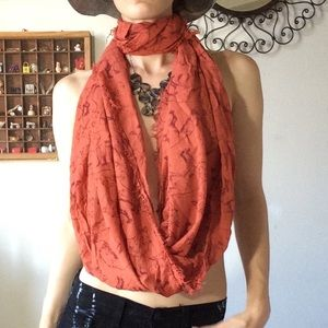 Wolf Bohemian Rusty Burnt Orange Infinity Scarf